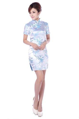 (JTC Women's Chinese Blue Short Cheongsam Dress 1pc (Small))