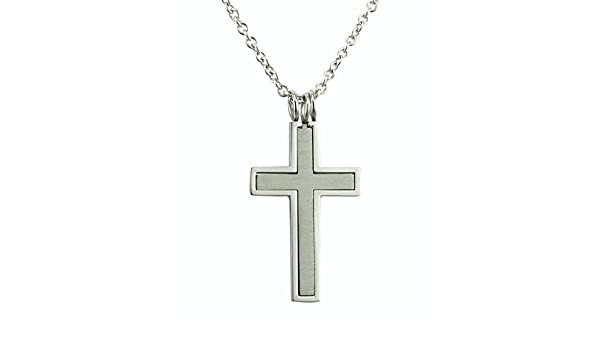 Aokarry Mens Womens Stainless Steel Pendant Necklace Hollow Out Cross Cross Matching Silver