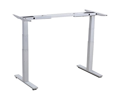 Rise UP Electric Adjustable Height Width Standing Desk Legs Frame Base. Ergonomic Motorized sit to Stand up Home Commercial Office Table. Dual 2 Motors. 4 Programmable Memory. White