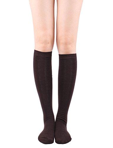 lish Vivid Lightweight Basic Knee High Socks BROWN,O (Knee High Lightweight Stockings)