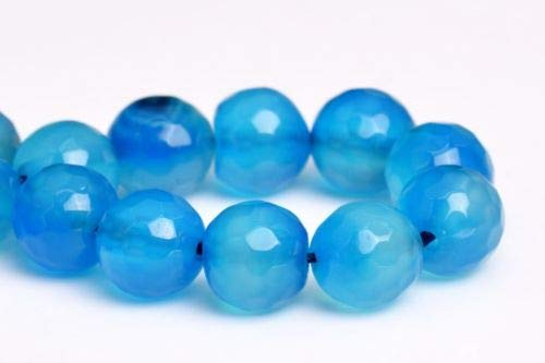 8mm Natural Blue Agate Beads Grade A Faceted Round Gemstone Loose Beads 7'' Crafting Key Chain Bracelet Necklace Jewelry Accessories Pendants
