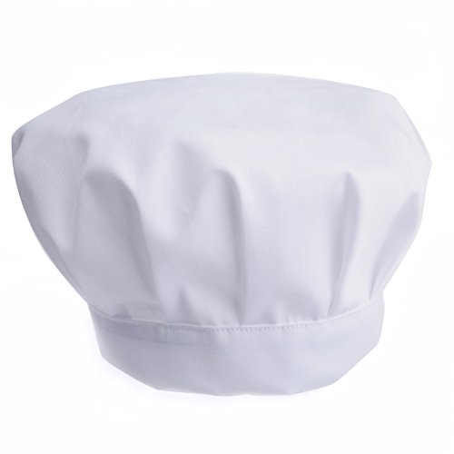 JoyFamily Chef Hat with Comfortable Durable Soft Mateials and Adjustable Size for Adults(White)