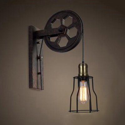 """Ruanpu Industrial Vintage Adjustable 5.91"""" Wide Wall Sconce with Extendable Swing Arm, Rusty Wall Light with a Wheel"""