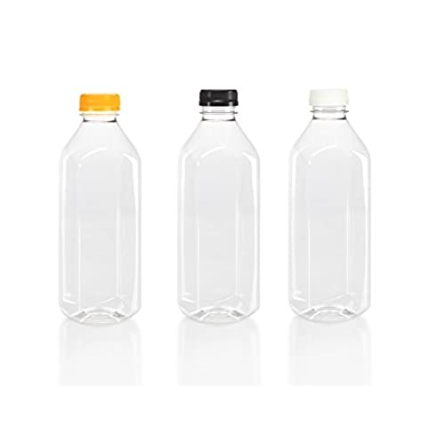 (6) 32 oz. Clear Food Grade Plastic Juice Bottles with Tamper Evident Caps