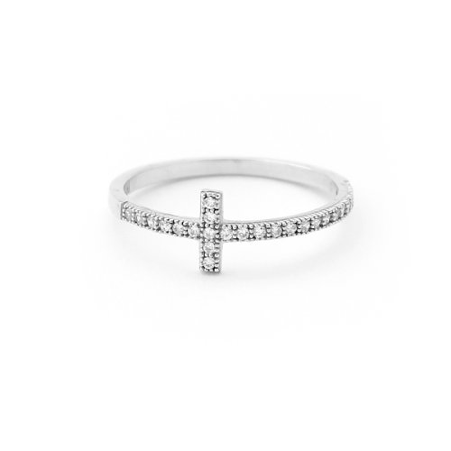 Silver Plated Solid Cross - Solid Sterling Silver Rhodium Plated Cubic Zirconia Sideways Cross Ring, Size 5