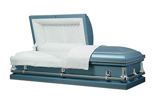 American Made Casket - White with Gold Accents - 20 Gauge Steel Casket (Blue)
