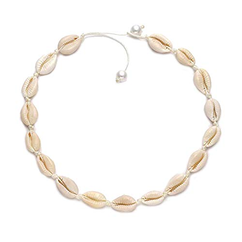 Shell Necklace Beach Choker Necklace Handmade Hawaii Wakiki Natural Cowrie Shell Beads Necklace Sets Bohemian Necklace Jewelry for Women Girls Ladies (1 Pcs Beige)