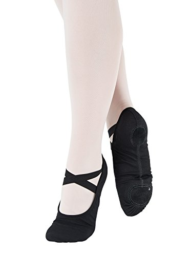 Cromo SD120 Dança para Zapatilla Suela normales Ballet Gimnasia de Baile Deporte C Negro Lona pies Partida Só Ancho Fitness C r7qpnarB