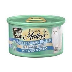 Fancy Feast Elegant Medleys Shredded Yellowfin Tuna Fare with Garden Greens (24/3-oz cans), My Pet Supplies