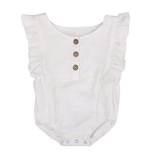 Babe Basics Organic Baby Romper Organic Baby Clothes (White, 12-18m)