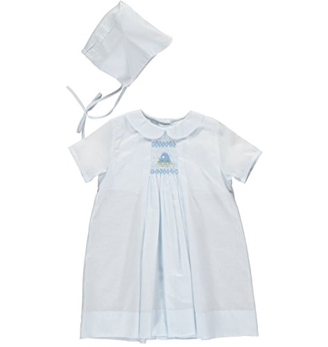 Carriage Boutique Baby Boys One Size Only Day Gown and Hat - Car Smocking - Blue, Newborn