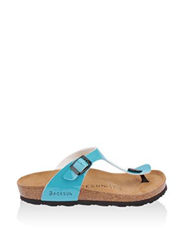 Backsun Damen Sandale Leder Blau