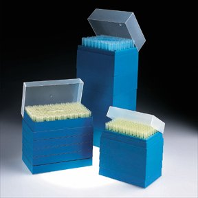 Fisherbrand Stack-Rack Space-Saver Tips, Beveled; Natural; Volume: 1-200uL; Length: 2 in.; 5 racks of 200