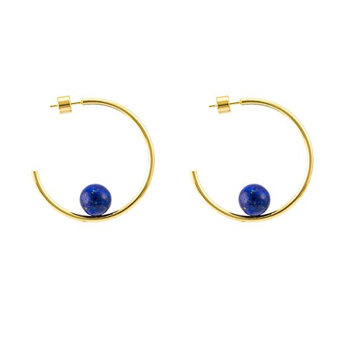 925 Sterling Silver Post 14k Gold Plated Open Cuff Hoop Earrings Natural Gemstone Pearl Hooped Stud Post Minimalist Gifts Earrings for Women Ladies Girls (Medium C Shape Gold & Lapis ()