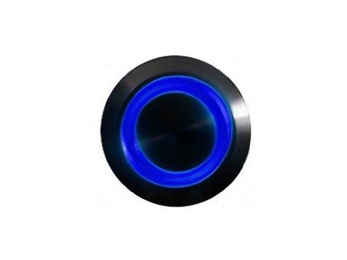 mod/smart Blue Illuminated Bulgin Style Momentary Vandal Switch - 22mm -Black Housing - Ring Illumination