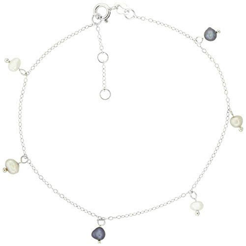 - Sterling Silver Anklet Cultured White & Gray Pearls, adjustable 9 - 10 inch