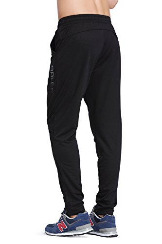 Baleaf Men's Tapered Athletic Running Track Pants Black Size XL by Baleaf (Image #3)