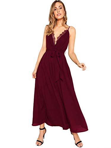ROMWE Women's Spaghetti Strap Lace Trim Plunge Neck Belted Prom Maxi Dress Maroon M