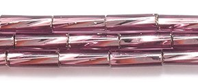 Preciosa Ornela Czech Twisted Bugle Glass Bead No.3, 2 by 7mm, Silver Lined, Amethyst