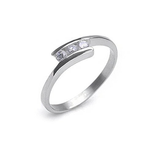 Petite 3 Stone CZ Ring. Cubic Zirconia Rings. Stainless Steel Womens Rings Size 6, 7, 8, 9 & 10. Promise Eternity Trinity - Purity Ring or Anniversary Gifts Poesy Commitment Ring I Love you Gifts (7) (Poesy Promise Rings)