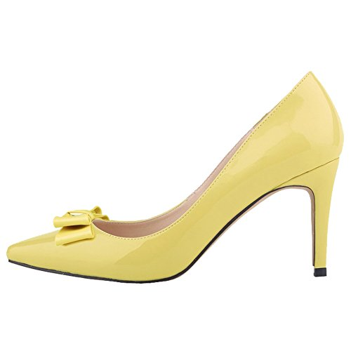 Candy Dress Toe Leather Womens Bowknot Shoes Color Pointed Yellow Pumps Patent Dethan xYwpWRzBY