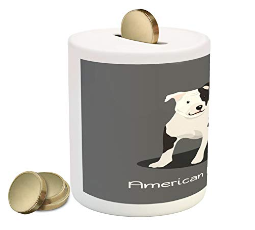 Ambesonne Pitbull Piggy Bank, American Pitbull Terrier Pet Cartoon Illustration Graphic Design on Grey Background, Printed Ceramic Coin Bank Money Box for Cash Saving, Multicolor (Pit Bull Piggy Bank)
