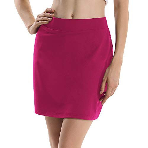 Women's Active Athletic Anytime Skorts Lightweight Shorts Quick Dry Running Tennis Golf Workout Skirt Pink Fushia Tag M by Sobrisah