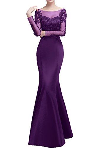 Rundkragen bodenlang Violett Meerjungfrau lange Tuell romantisch Applikation Schnuerung Partykleid Damen Brautmutterkleid Abendkleid Ivydressing Spitze Satin 1 Aermel pxZRWggn