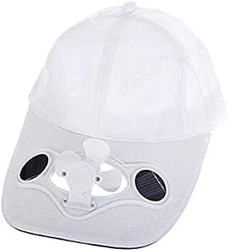 SALAKA 1PC Sombrero Deportivo Blanco con Gorras de Ventilador Solar para Golf y béisbol: Amazon.es: Hogar