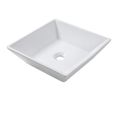 Lordear 16''x16''x5'' Modern Bathroom Square Above White Porcelain Ceramic Vessel Vanity Sink Art Basin