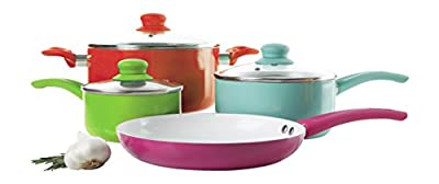 Gibson Home 108152.07 7 Piece Assorted Aluminum Cookware Set, Multicolored