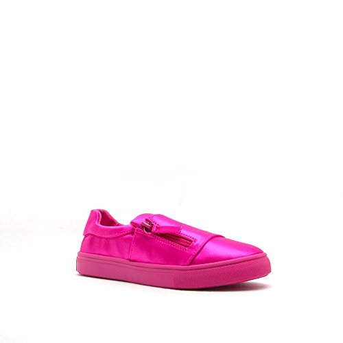 Qupid Womens Zip Laterale Moda Sneaker Lycra O Tela Moira-13 Blu, Rosa, Cammello Leopardo Fucsia Lycra