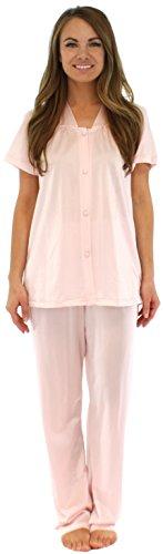 PajamaMania Women's Short Sleeve Pajama Set (Nylon, Carn Pink, Med)
