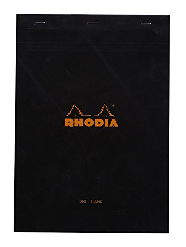 Rhodia Staplebound Notepads - Blank 80 sheets - 8 1/4 x 11 3/4 in. - Black cover