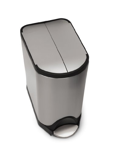 Step Wastebasket - simplehuman 20 Liter/5.3 Gallon Butterfly Lid Kitchen Step Trash Can, Brushed Stainless Steel