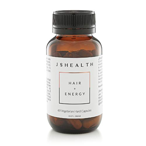 JSHealth Vitamins Hair and Energy Formula, Healthy Hair Growth, Metabolism Support for Low Energy, Iodine and Zinc Supplement (60 Capsules)
