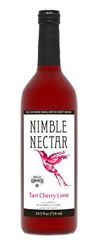 Nimble Nectar Tart Cherry Lime award-winning all-natural nectar for cocktails mimosas and refreshers, 12 servings -