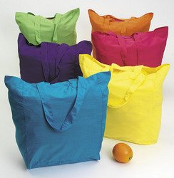Lot of 12 Large Cotton Bright Neon Color Tote Bags Party Craft Favors