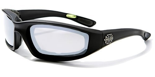 Choppers Mens Biker Padded Motorcycle Goggles Glasses - Several Lens Colors Available! (Black - Smoke - Choppers Sunglasses