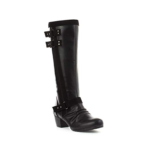 Lilley Womens Knee High Boot with Buckles in Black Black