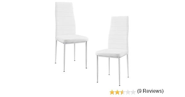 [en.casa]®] 2 x sillas de Comedor (Blancas) tapizadas de Cuero sintético Comedor/salón/Cocina - Set