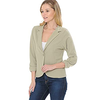 MINEFREE Women's 3/4 Sleeve Lightweight Casual Work Knit Blazer Jacket (S-3XL) at Women's Clothing store