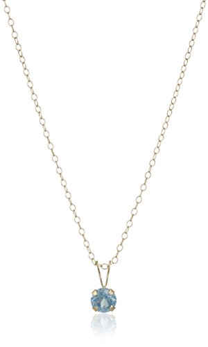 Aquamarine 14k Gold Pendant Necklace - Girl's 14k Yellow Gold Created Aquamarine Birthstone Pendant Necklace, 15