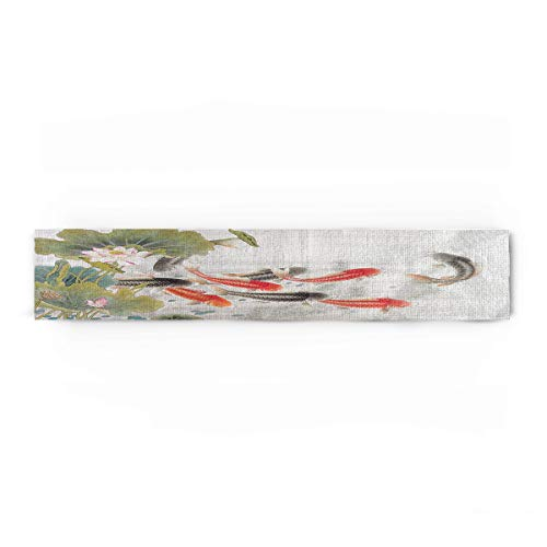 Fandim Fly Traditional Japanese Style with Koi Fish Lotus Flowers Folk Modern Design Cotton Table Runner Decorative - Holiday Table Setting Decor Single Layer 13x90inch