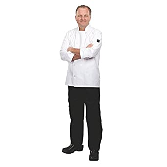 Chef Revival J100 Chef Revival 24/7 Poly Cotton Blend Long Sleeve Basic Jacket with Clear Pearl Bottons, 2X-Large, White