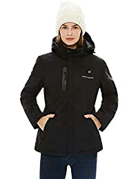 [2019 Upgrade Women's Heated Jacket with Battery Pack, Heated Coat with Detachable Hood and Waterproof& Windproof