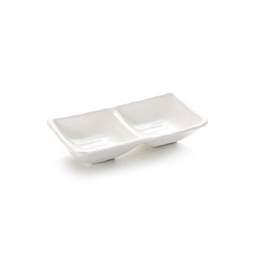 (HaloVa Condiment Dish, Food-grade Melamine Sauce Dish, Multipurpose Divided Nonslip Dipping Bowl for Home Hotel Restaurant Kitchen Spices Vinegar Nuts, Two Compartments)
