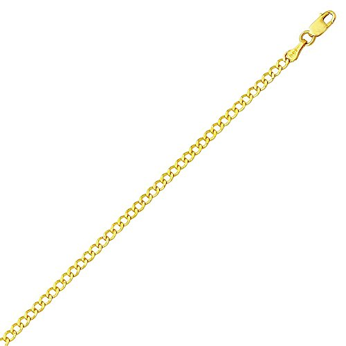 PriceRock 14K Solid Yellow Gold Comfort Curb Chain Necklace 2.6mm thick 18 Inches