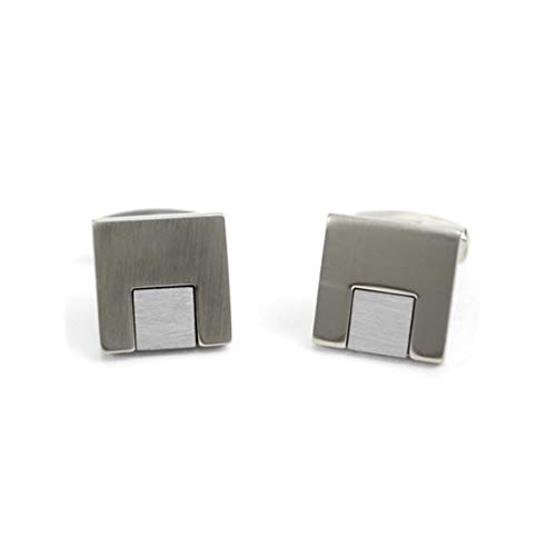 Brushed Silver Tone Square Modern Novelty Cufflinks
