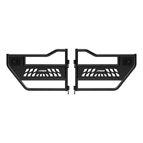ARIES 2500200 Black Aluminum Rear Jeep Wrangler JL, Gladiator Tube Half Doors, 2 Pack